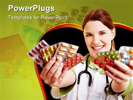 PowerPoint template displaying smiling female doctor holding many colorful pills in her hands in the background.