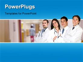 PowerPoint template displaying four doctors standing line smiling hospital background