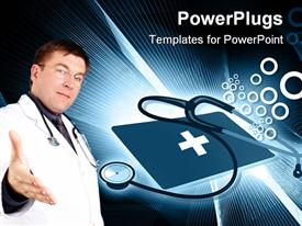 Young doctor with stethoscope stretching out hand for handshake over blue background template for powerpoint