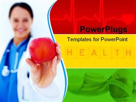 PowerPoint template displaying human female doctor holding an apple with health text beside her