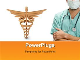 PowerPoint template displaying male doctor on white background with medical icon