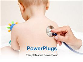 PowerPoint template displaying a doctor checking the kid with stethoscope