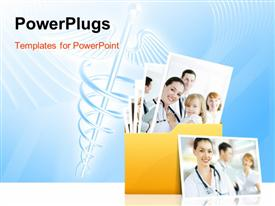 PowerPoint template displaying folder with different depictions in the background.