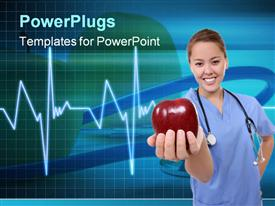 PowerPoint template displaying woman in medical scrubs with stethoscope holding apple, EKG background, nutrition, health, dietitian, nutritionist