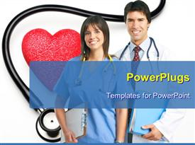 PowerPoint template displaying smiling medical people with stethoscopes. Over blue background