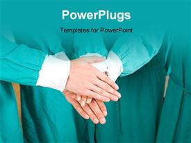 Medical doctors with hands together to form a medical teamwork powerpoint theme