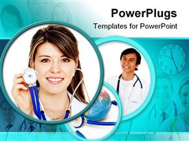 PowerPoint template displaying beautiful female doctor in the background.