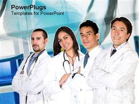Four doctors stand together powerpoint design layout