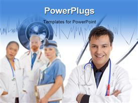 PowerPoint template displaying friendly caring team of medical doctors surgeons healthcare professionals in the background.