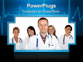 PowerPoint template displaying group of doctors in the background.