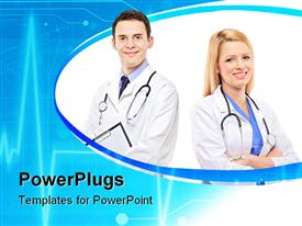PowerPoint template displaying portrait of a medical team of doctors, woman and man in the background.