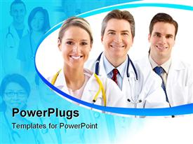 PowerPoint template displaying smiling medical doctors people with stethoscopes in the background.