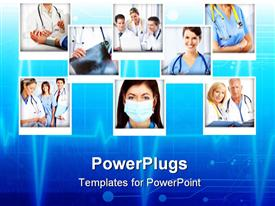 PowerPoint template displaying a number of doctors with bluish background