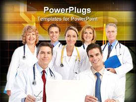 PowerPoint template displaying group of medical doctors smiling with stethoscope on shoulder