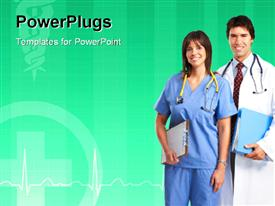 Smiling medical people with stethoscopes. Doctors and nurses powerpoint template