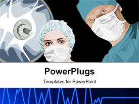 PowerPoint template displaying two doctors surgeon proceeding a Surgical operation in the background.