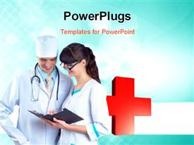 PowerPoint template displaying smiling medical doctor with stethoscope on the hospitals background