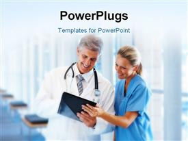PowerPoint template displaying medical doctor and nurse examining record from a PDA in hospital