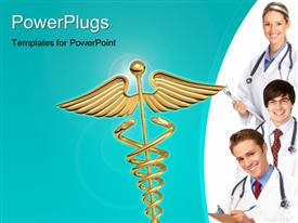 Smiling doctors and nurses with stethoscopes over a white background presentation background