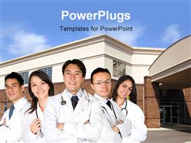 PowerPoint template displaying team medical doctors stethoscope neck hospital building