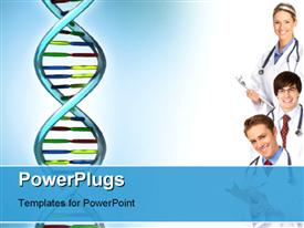 PowerPoint template displaying smiling medical people with stethoscopes. Doctors and nurses in the background.