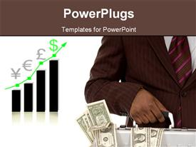 PowerPoint template displaying businessman holds briefcase containing money with increasing financial chart