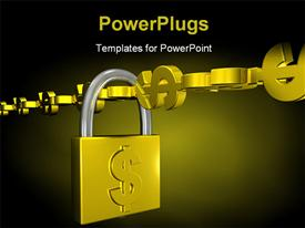 PowerPoint template displaying a chain made of currency signs with a lock