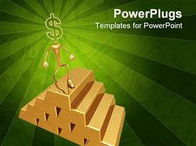 PowerPoint template displaying animated depiction of a human climbing gold bars with dollar sign head