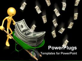 PowerPoint template displaying a figure with a lot of money