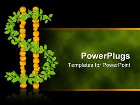 PowerPoint template displaying green plant and yellow flowers forming dollar sign on foggy green and black background