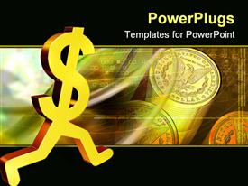 PowerPoint template displaying gold dollar sign running away. Depiction is