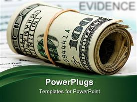 PowerPoint template displaying rolled up wads of hundred dollar bills tied with a rubber band