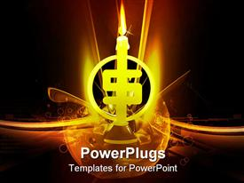 PowerPoint template displaying lighted dollar sign shaped candle on black glowing background