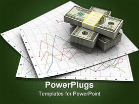 PowerPoint template displaying stacks of wrapped hundred dollar bills on pile of business graphs