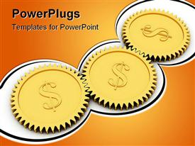 PowerPoint template displaying golden dollar gears on white background. High resolution 3D depiction rendered with soft shadows