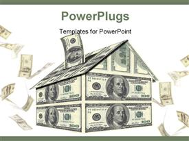 PowerPoint template displaying savings depiction with house made with dollar bills as saving box