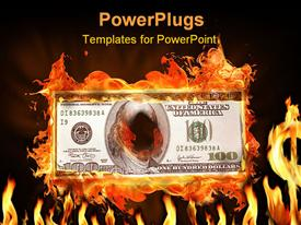 PowerPoint template displaying dollar note on fire in the background.