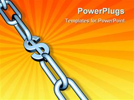 PowerPoint template displaying chrome chain on orange background with dollar sign at center of links