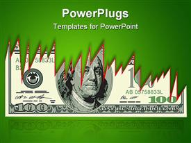 PowerPoint template displaying dollar bill with jagged edges on a green background