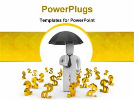PowerPoint template displaying 3D man carrying umbrella with gold dollar signs on floor