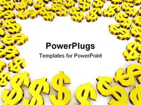 PowerPoint template displaying a number of dollar signs with place for text in middle