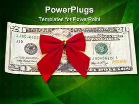 PowerPoint template displaying red holiday bow on twenty dollar bill against green background