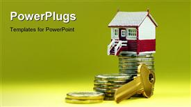 PowerPoint template displaying house placed on a pile of gold coins with a gold key in the front