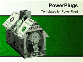 PowerPoint template displaying a house made of dollar notes with dollar notes in the background