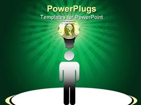 Conceptual design of human figure with bright yellow light bulb made of money over his head  - prosperity powerpoint slides