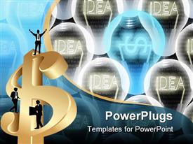 PowerPoint template displaying glowing dollar symbol bulb and Idea bulbs