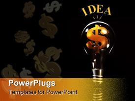 PowerPoint template displaying gold dollar sign inside idea light bulb against black background, money, inspiration