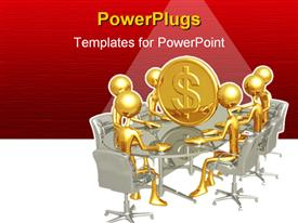 PowerPoint template displaying gold plated men sit round table with large gold coin in center