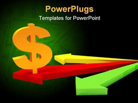 PowerPoint template displaying three dimensional dollar sign on arrows