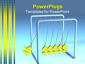 PowerPoint template displaying silver colored pendulum with six dollar symbols swinging on it